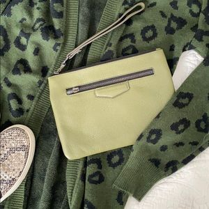 -AIMEE KESTENBERG- Army green leather wristlet